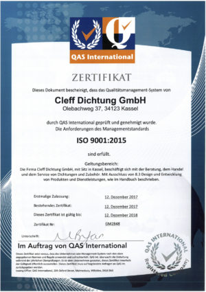 Cleff-Dichtung ISO 9001:2015