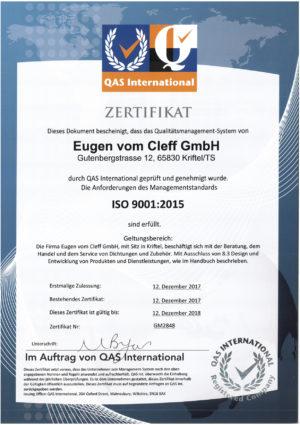 Eugen vom Cleff ISO 9001:2015